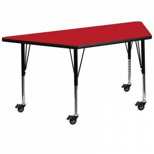 Flash Furniture 26 x 46 Trapezoidal High Pressure Top Mobile Activity Table in Red