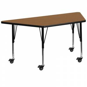 Flash Furniture 26 x 58 Trapezoidal Thermal Fused Top Mobile Activity Table in Oak