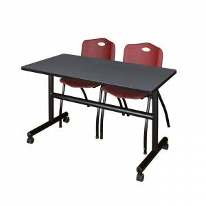 Regency 48 x 30 Flip Top Mobile Training Table- Grey and 2 M Stack Chairs- Burgundy