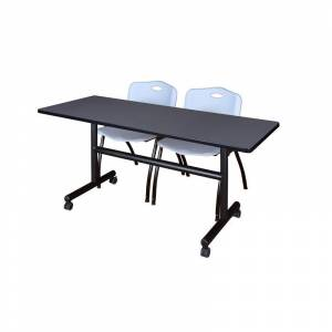 Regency 60 x 30 Flip Top Mobile Training Table- Grey and 2 M Stack Chairs- Grey