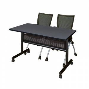 Regency 48 x 24 Flip Top Mobile Training Table w/ Divider- Grey & 2  Nesting Chairs