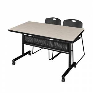 Regency 48 x 30 Flip Top Mobile Training Table w/ Divider- Maple & 2 Stack Chairs