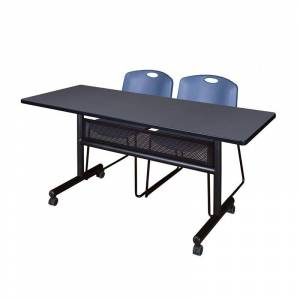 Regency 60 x 24 Flip Top Mobile Training Table w/ Divider- Grey & 2 Stack Chairs
