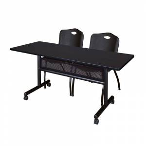 Regency 60 x 24 Flip Top Mobile Training Table w/ Divider- Mocha & 2 Stack Chairs