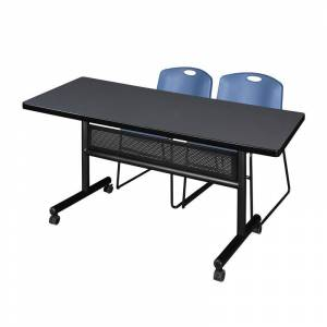Regency 60 x 30 Flip Top Mobile Training Table w/ Divider- Grey & 2 Stack Chairs