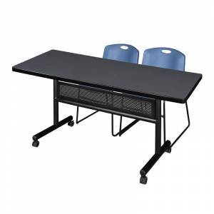 Regency 72 x 30 Flip Top Mobile Training Table w/ Divider- Grey & 2 Stack Chairs