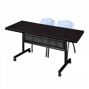 Regency 72 x 30 Flip Top Mobile Training Table w/ Divider- Mocha & 2 Stack Chairs
