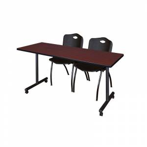 Regency 60 x 24 Kobe Mobile Training Table- Mahogany & 2 'M' Stack Chairs- Black