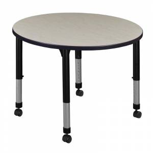 Regency Kee 42 Round Height Adjustable Mobile Classroom Table - Maple