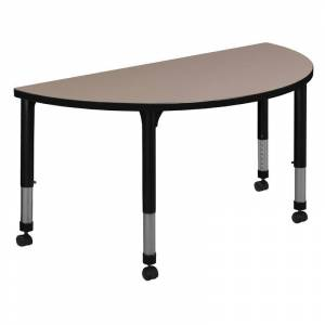 Regency 48 x 24 Half Round Height Adjustable Mobile Classroom Table- Beige