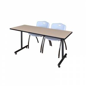 Regency 66 x 24 Kobe Training Table- Beige & 2 'M' Stack Chairs- Grey