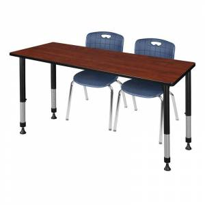 Regency Kee 48in. Square Adjustable Mobile Table-Maple & 4 Andy 12-in Chairs-Blue