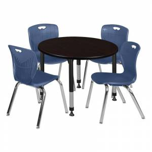 Regency Kee 48in. Round Adjustable Mobile Table-Espresso & 4 Andy 18-in Chairs-Blue
