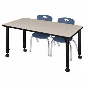 Regency Kee 48 Adjustable Mobile Classroom Table - Maple & 2 Andy 12-in Chairs- Navy