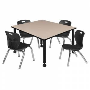 Regency Kee 48in. Square Adjustable Mobile  Table-Beige & 4 Andy 12-in  Chairs-Black