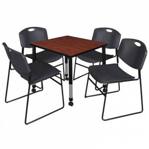 Regency Kee 48in. Square Adjustable Mobile  Table-Espresso & 4 Andy 12-in Chairs-Blue