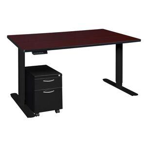 Regency Esteem 60 in. Height Adjustable Desk w/ Black Mobile Pedestal- Brown/Black