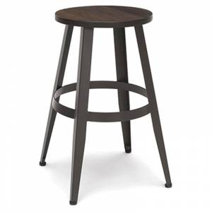 OFM Edge 24 Backless Metal Counter Stool with Footrest in Walnut