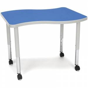 OFM Adapt 28 Wave Mobile Small Top Training Table in Blue