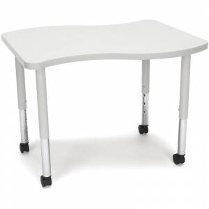 OFM Adapt 28 Wave Mobile Small Top Training Table in Gray Nebula