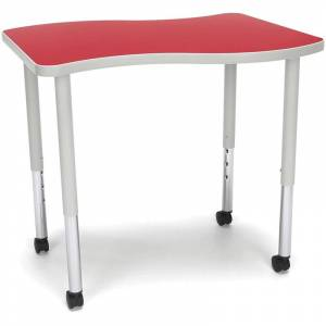 OFM Adapt 33 Wave Mobile Small Top Training Table in Red