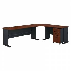 BBF Bush Business Furniture Series A 99W L-Shaped Desk with Mobile File Cabinet - Hansen Cherry Galaxy