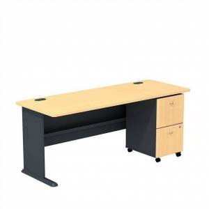BBF Bush Business Furniture Series A Beech 72W Desk with 2-Drawer Mobile Pedestal