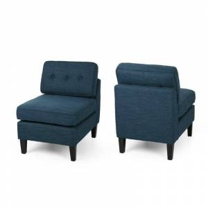 Noble House Crowningshield Fabric Slipper Chair in Navy Blue (Set of 2)