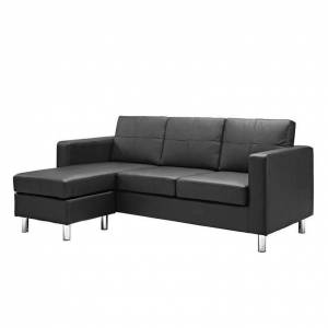 Dorel Asia Dorel Living Small Spaces Adjustable Sectional Sofa in Black