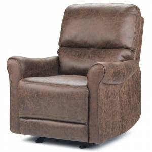 Simpli Home Garrison Faux Leather Gliding Recliner in Umber Brown