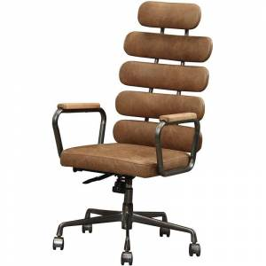 ACME Furniture ACME Calan Leather High Back Adjustable Swivel Office Chair in Brown