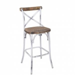 ACME Furniture ACME Zaire Bar Stool in Walnut and Antique White