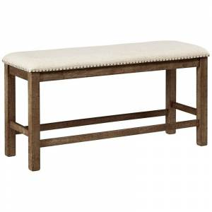 Ashley Furniture Moriville Upholstered Counter Dining Bench in Beige