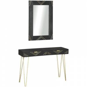 Ashley Furniture Ashley Coramont Console Table with Mirror in Black and Gold