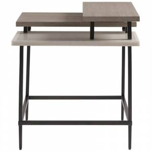 Universal Furniture Wood End Table in Flannel Beige Finish