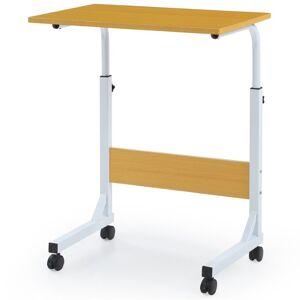 Hodedah Adjustable Height Wood Top Laptop Desk on Wheels in Beech