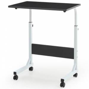 Hodedah Adjustable Height Wood Top Laptop Desk on Wheels in Black