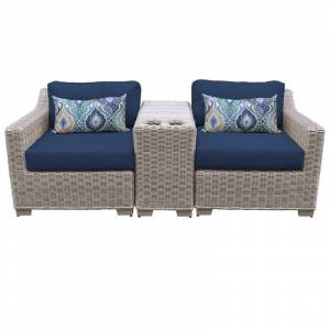 TK Classics Coast 3 Piece Outdoor Wicker Patio Furniture Set 03b in Navy