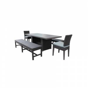 TK Classics Barbados Patio Dining Table with 2 Armless Chairs and 2 Benches in Spa