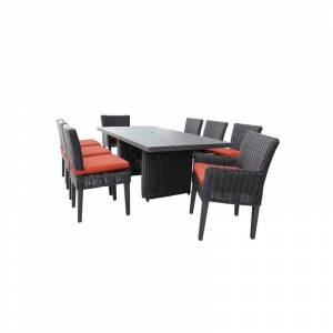 TK Classics Venice Rectangular Patio Dining Table 6 Armless Chairs 2 Arm Chairs in Tangerine