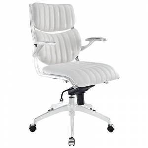 Modway Escape Faux Leather Swivel Office Chair in White