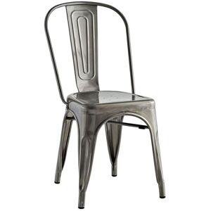 Modway Promenade Metal Dining Chair in Gunmetal
