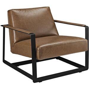 Modway Seg Vinyl Accent Chair in Brown
