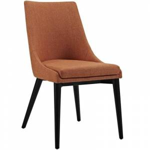 Modway Viscount Fabric Upholstered Dining Side Chair in Orange