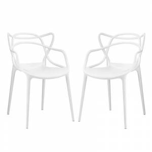 Modway Entangled Dining Side Chair in White (Set of 2)
