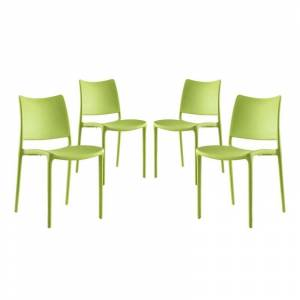 Modway Hipster Dining Side Chair in Green (Set of 4)