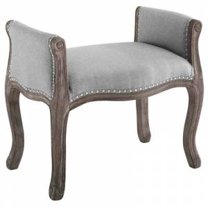 Modway Avail Vintage French Upholstered Bench in Light Gray