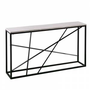 Southern Enterprises Arendal Faux Marble Skinny Console Table in Matte Black