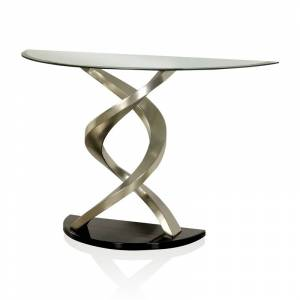 Furniture of America Crook Stainless Steel Console Table in Satin Plated