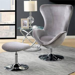 Furniture of America Kip Accent Chair with Ottoman in Gray